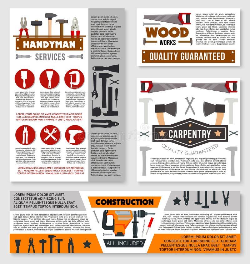 Baugewerbefahne mit Arbeitswerkzeug lizenzfreie abbildung
