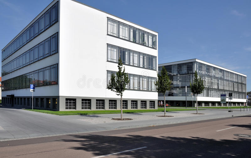 Bauhaus from north, dessau. View in direction north, as seen from the street, of the building symbol of modern architecture in the twenties stock photo