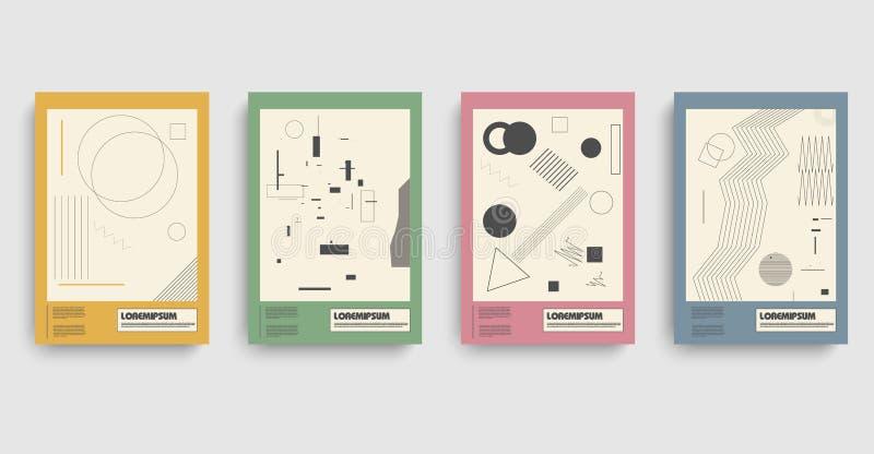 bauhaus Plantilla moderna del negocio del bauhaus con bauhaus Fondo de la bandera del diseño del vector stock de ilustración