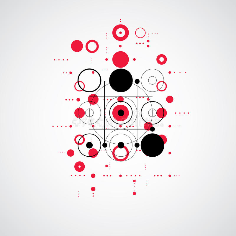 Bauhaus retro wallpaper, art vector red background made using gr. Id and circles. Geometric graphic 1960s illustration can be used as booklet cover design royalty free illustration