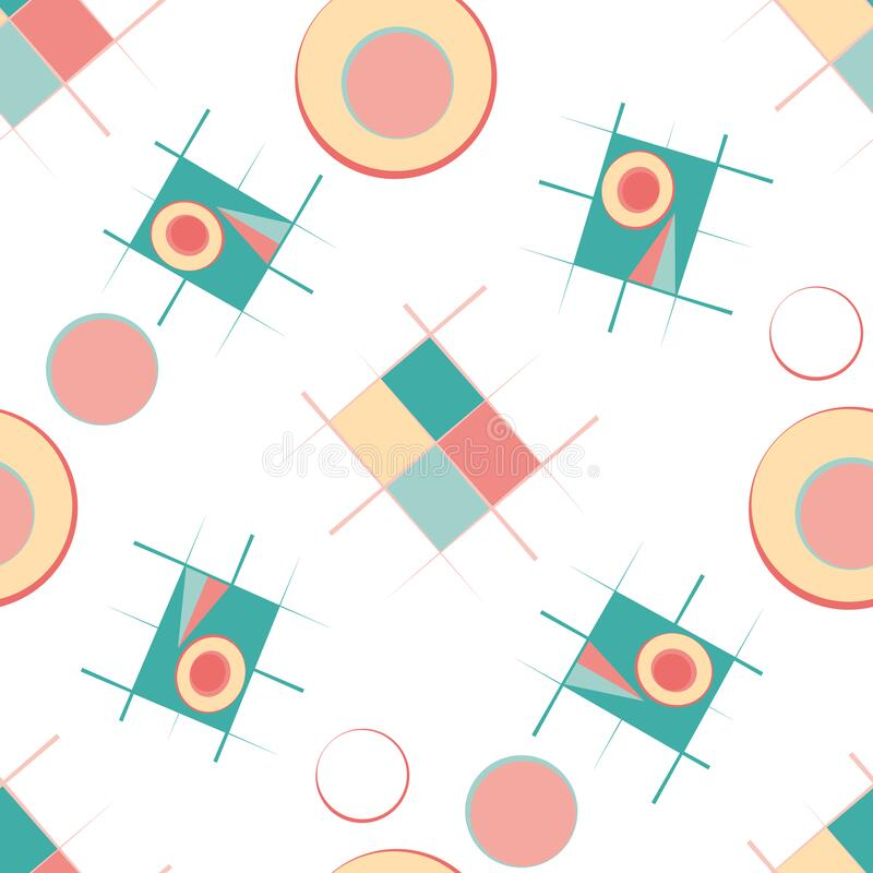 Bauhaus style vector seamless pattern background. Colorful teal, pink, yellow circles and rectangles scattered on white. Backdrop. Loose tossed repeat design royalty free illustration