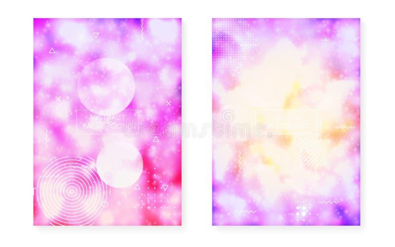 Bauhausdekking met vloeibare vormen wordt geplaatst die Neon lichtgevende achtergrond met fluorescente purple royalty-vrije illustratie