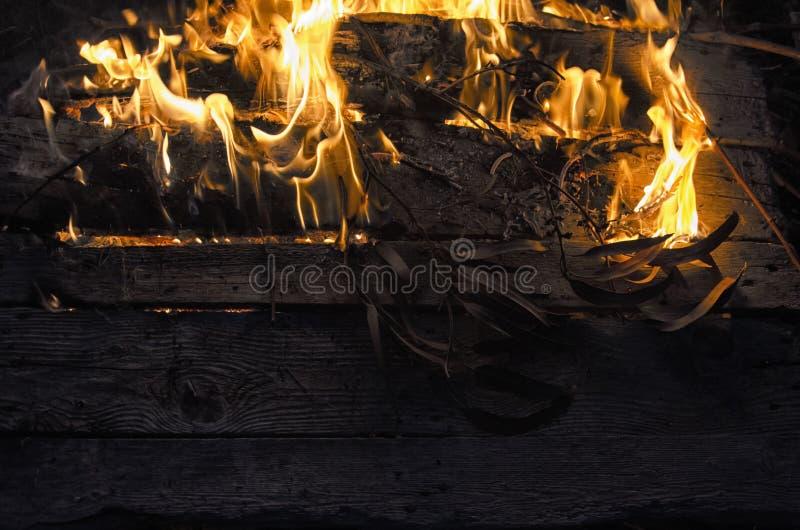 Bauholz und Laub auf Feuer stockfoto