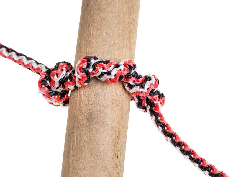 Bauholzproblemknoten gebunden auf dem synthetischen Seil herausgeschnitten lizenzfreies stockbild