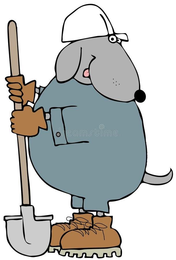 Bauhund, der eine Schaufel hält vektor abbildung