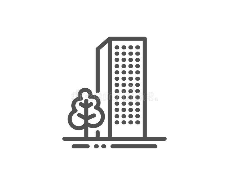 Baulinie Ikone Stadtarchitektur mit Baumzeichen Wolkenkratzergeb?ude Vektor vektor abbildung