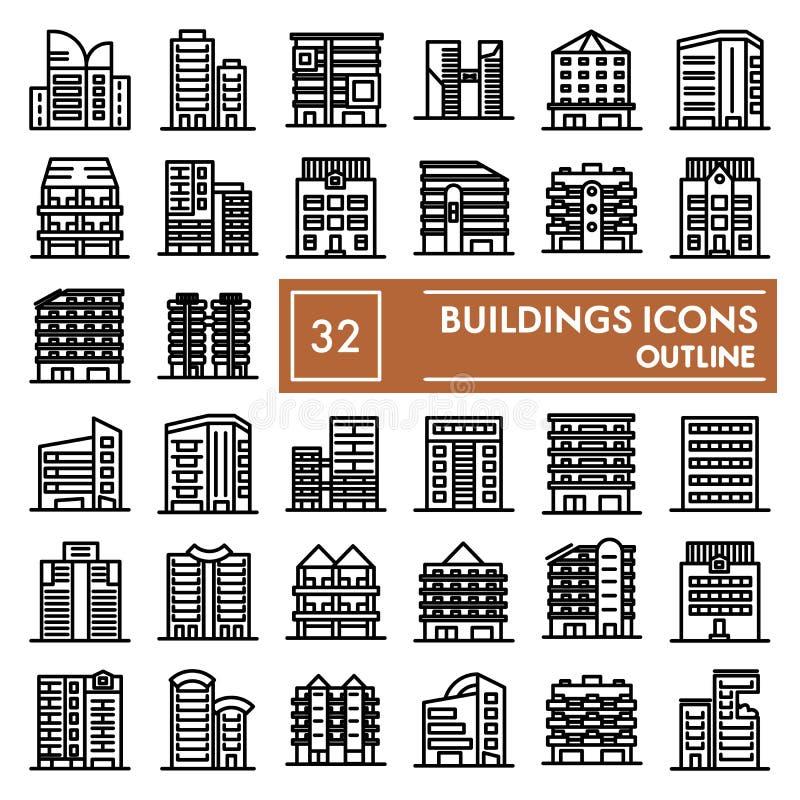Baulinie Ikonensatz, hous Symbole Sammlung, Vektorskizzen, Logoillustrationen, Architekturzeichen linear stock abbildung