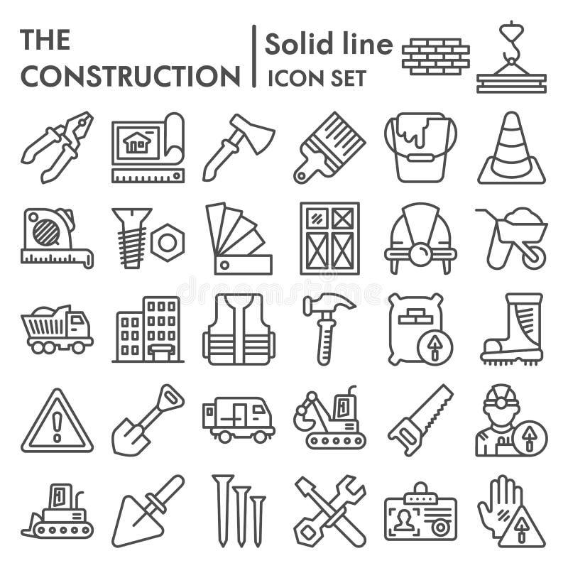 Baulinie Ikonensatz, Reparatursymbole Sammlung, Vektorskizzen, Logoillustrationen, errichtende Zeichen linear stock abbildung