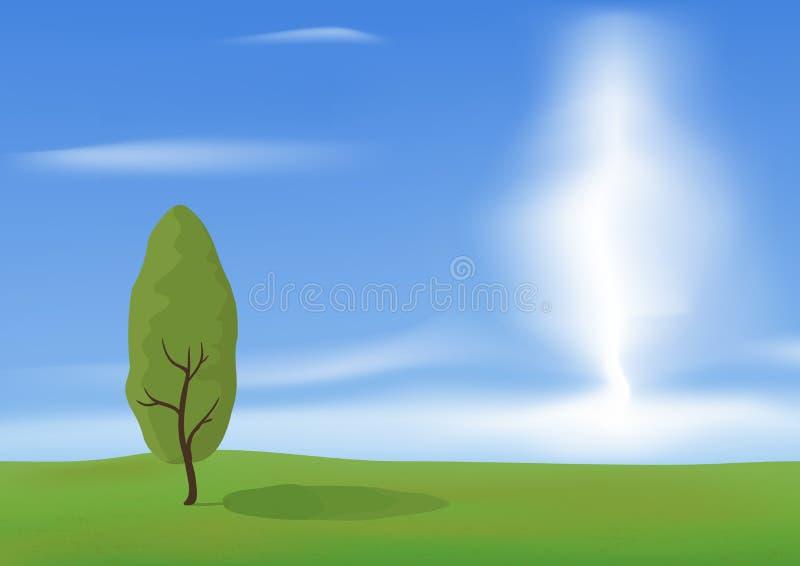 Baum auf dem Gebiet lizenzfreie abbildung
