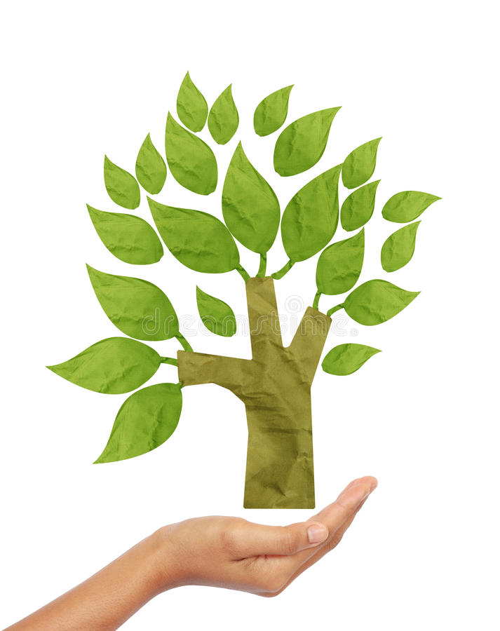 Baum aufbereiteter Papierfertigkeitsteuerknüppel stockfotos