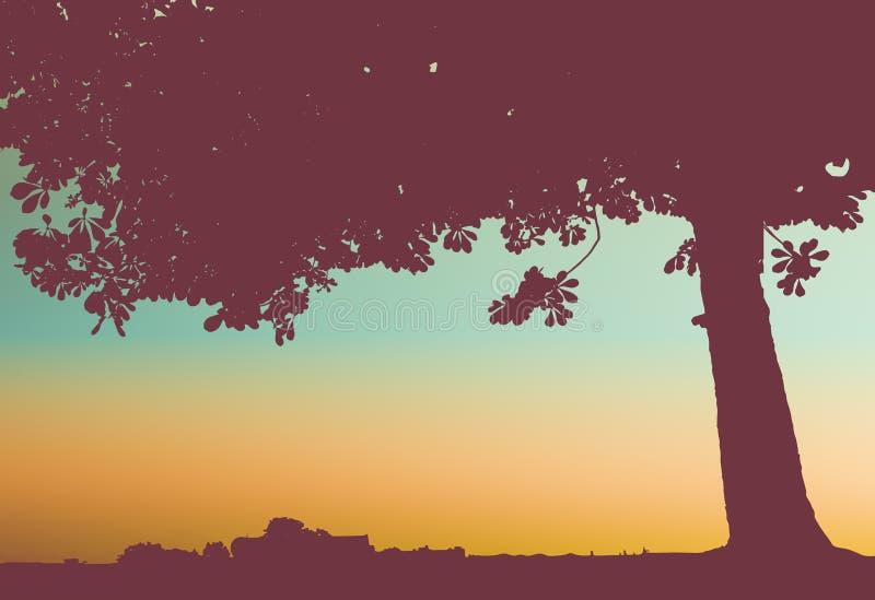 Baum bei Sonnenuntergang vektor abbildung