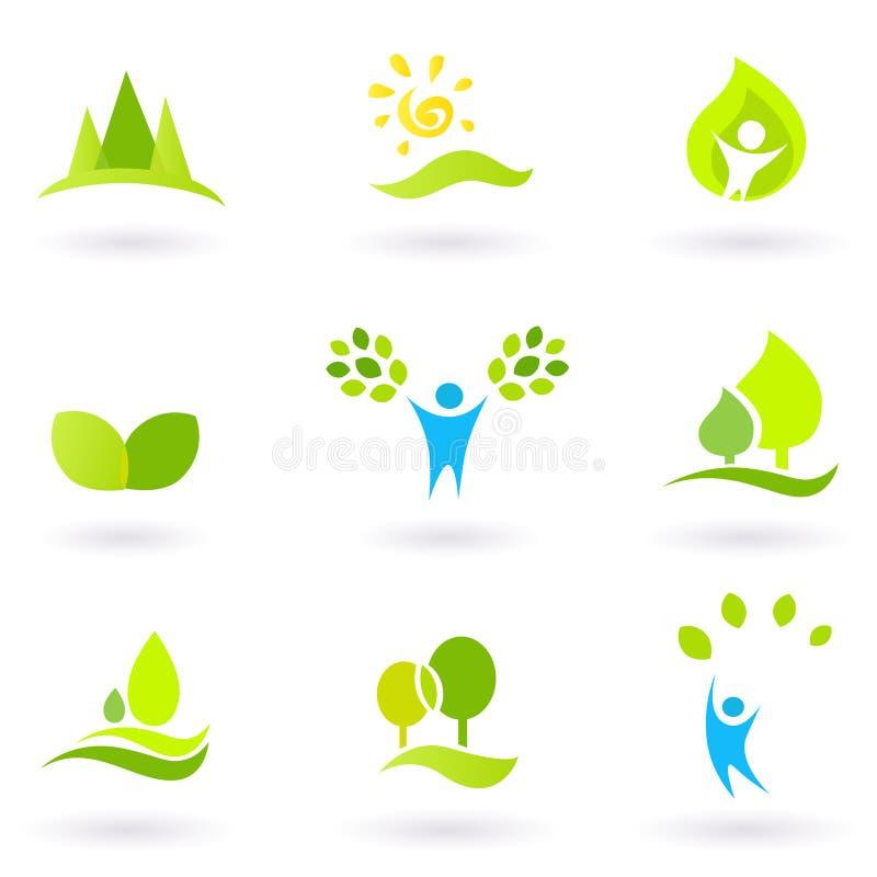 Baum, Blätter und Ökologieikonenset, grün lizenzfreie abbildung