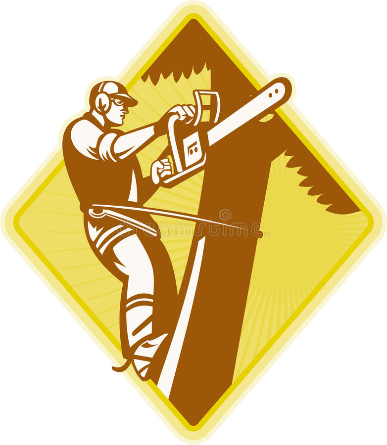 Baum-Chirurg-Baumzüchter Chainsaw Retro stock abbildung