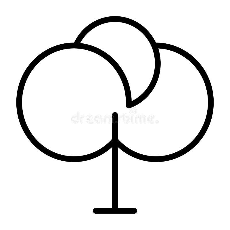 Baum-dünne Linie Ikone 48x48 Einfaches minimales Piktogramm stock abbildung
