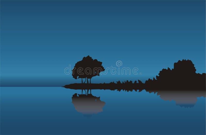 Baum an der blauen Küste lizenzfreie abbildung