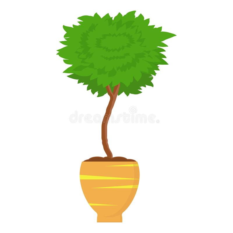 Baum der dekorativen Zutat Betriebsim freien im Topf Buchsbaum Topiarygartenpflanze Dekorativer Baum im Blumentopf Vektor vektor abbildung