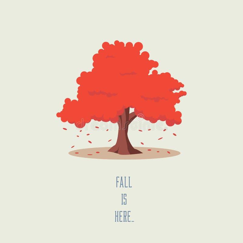 Baum in der Fall- oder Herbstvektorlandschaft Saisonsymbol mit den fallenden Blättern, schöne Karikaturgrafik lizenzfreie abbildung
