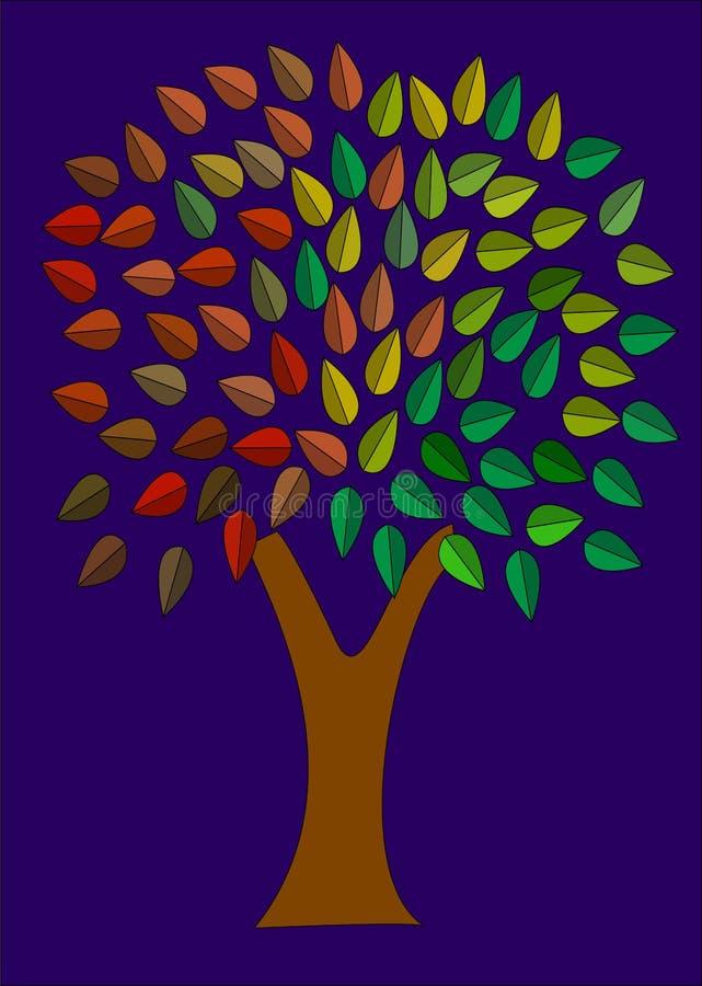 Baum der Farben-Nacht lizenzfreie abbildung