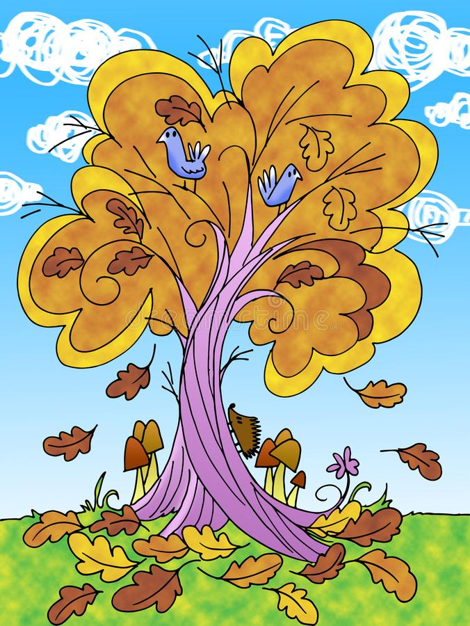 Baum in der Herbstkarikaturillustration stock abbildung