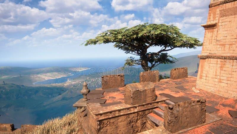 Baum in der Küstenregion vektor abbildung