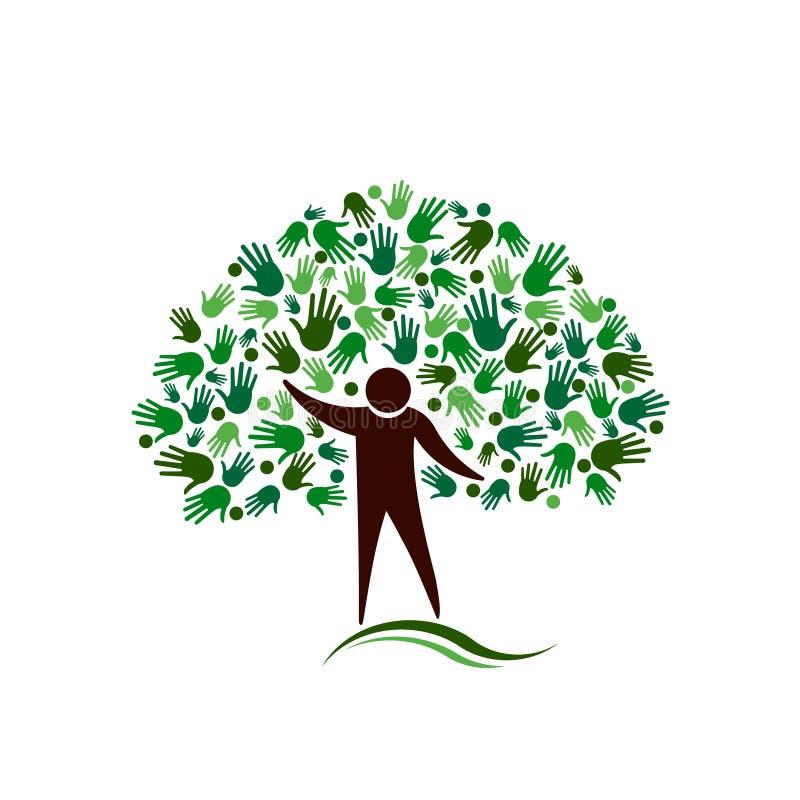 Baum der menschlichen Figur mit Handnetz-Vektorlogo lizenzfreie abbildung
