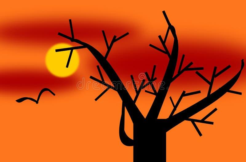 Baum in der Winterzeit in einem Sun eingestellt mit einem Fliegen-Vogel stock abbildung