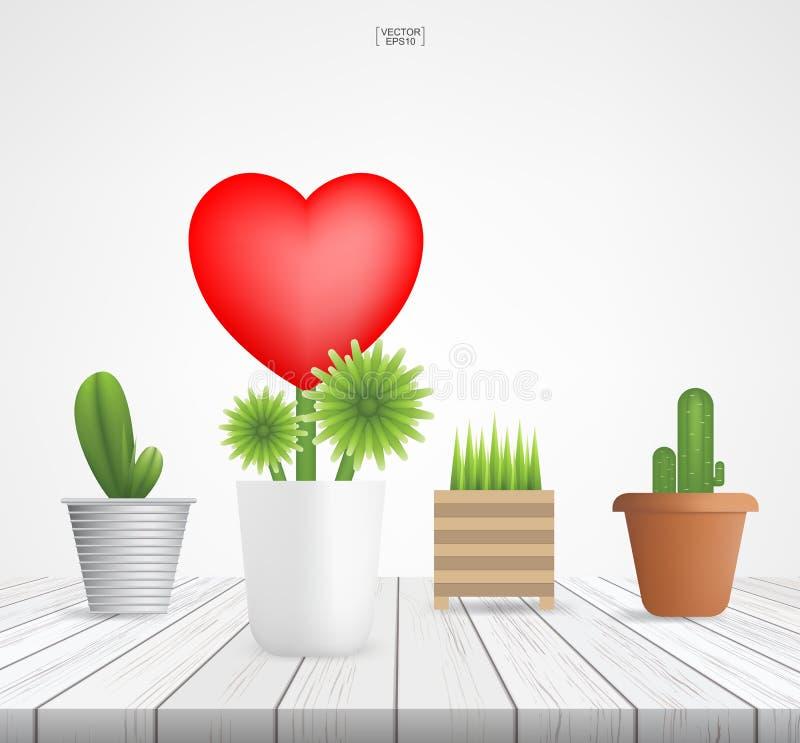 Baum des Herzens auf Holz Abstraktes Zeichen und Symbol für Valentinsgruß ` s Tag stock abbildung