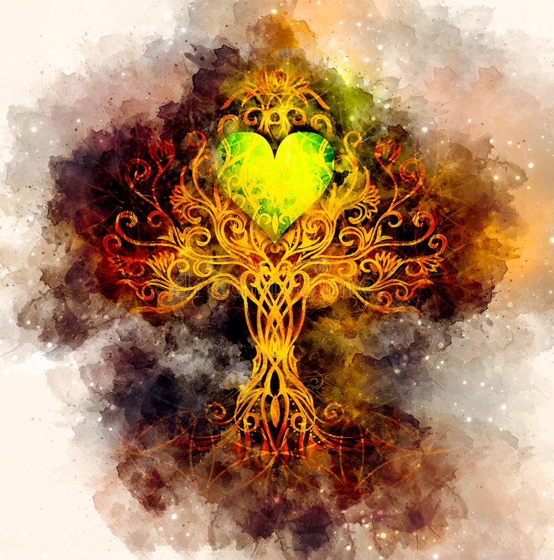 Baum des Lebensymbols auf strukturiertem dekorativem Hintergrund mit Herzform, Blume des Lebenmusters, yggdrasil lizenzfreie abbildung