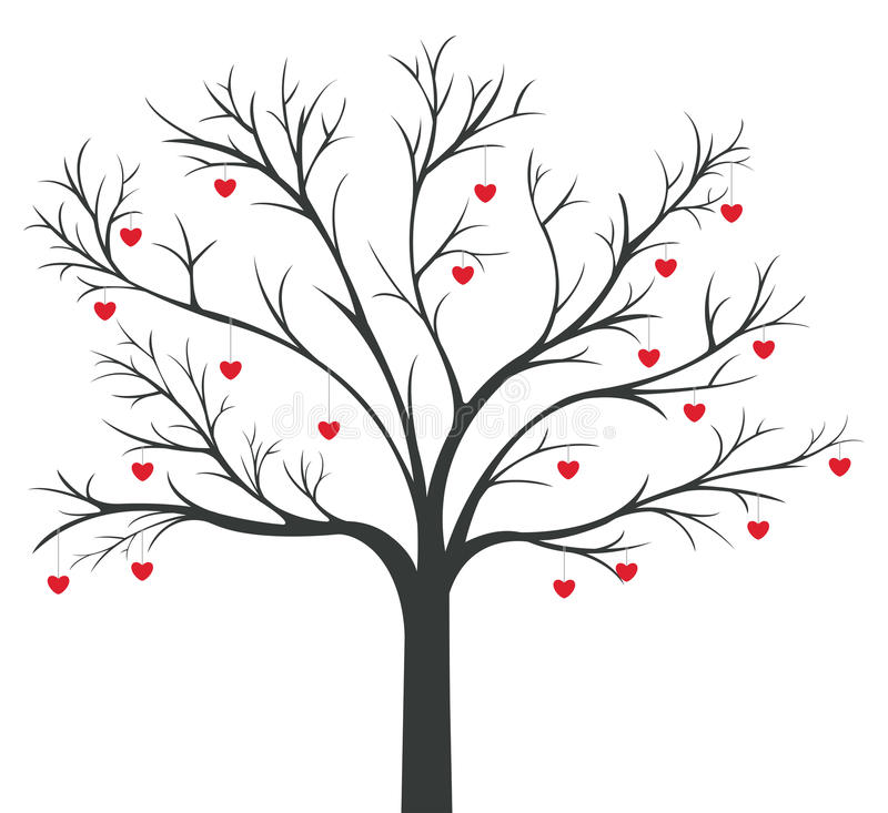 Baum des roten Innerhängens stock abbildung
