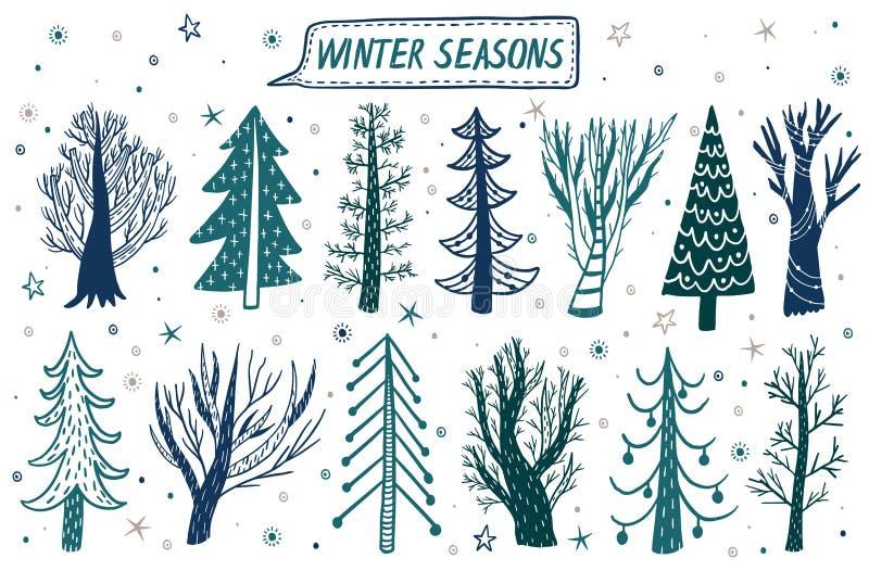 Baum- des Waldeswintersatz des Vektors Hand gezeichneter Elemente für das Design der Kiefer, Fichte, Baum Kritzeln Sie Art lizenzfreie abbildung