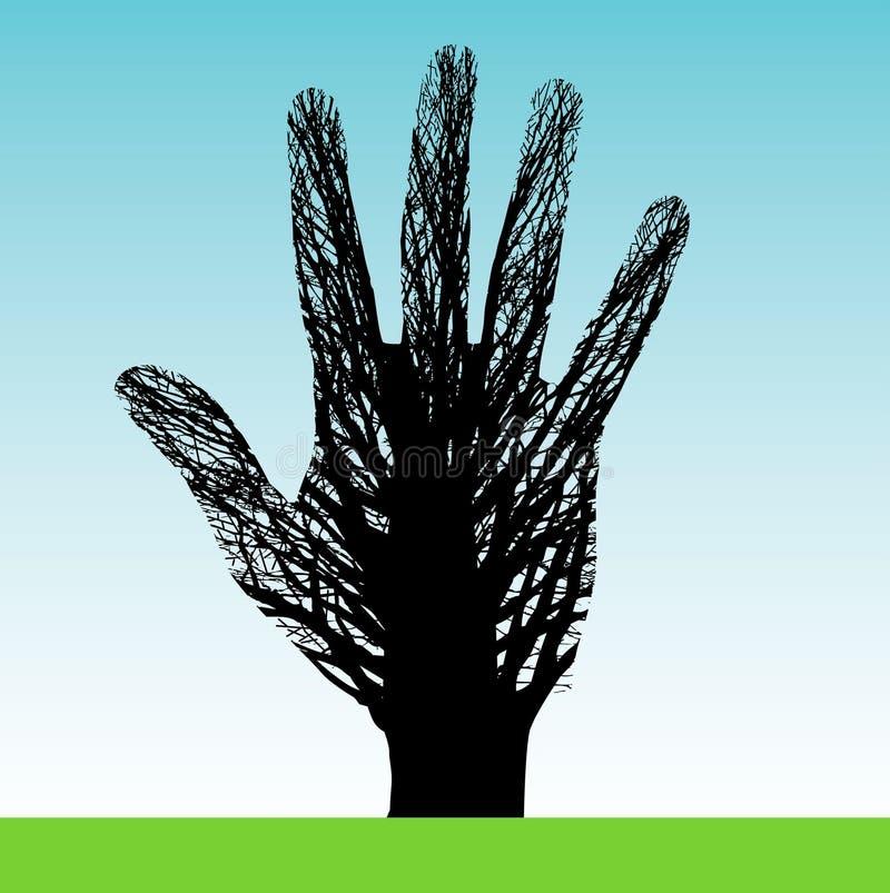 Baum geformt als Hand vektor abbildung