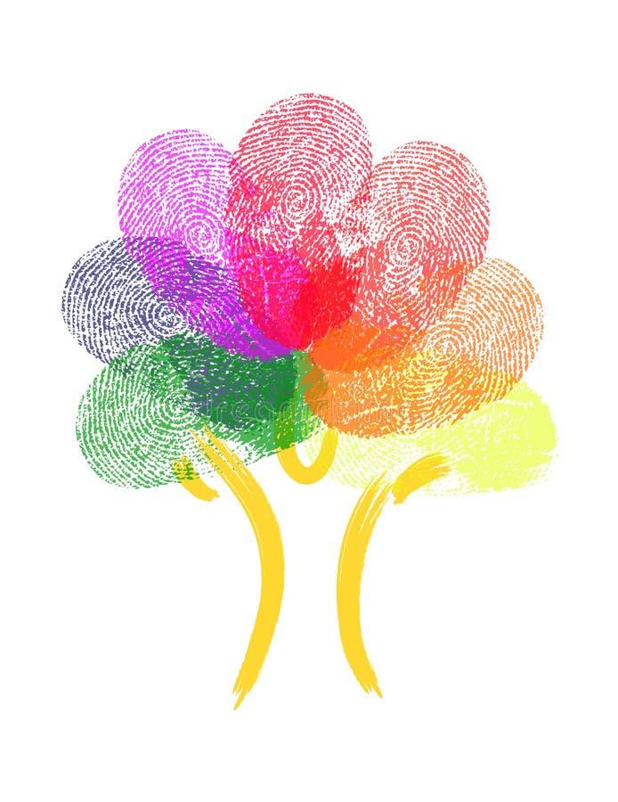 Baum gemacht von den Fingerabdrücken lizenzfreie abbildung