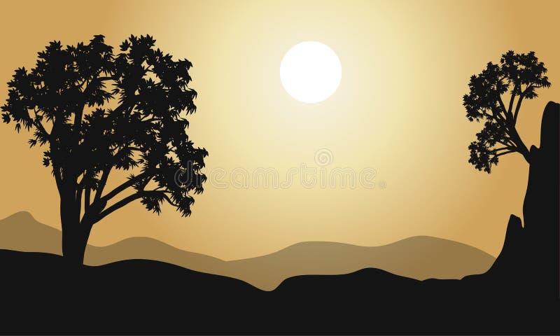 Baum am Hügelschattenbildvektor lizenzfreie abbildung