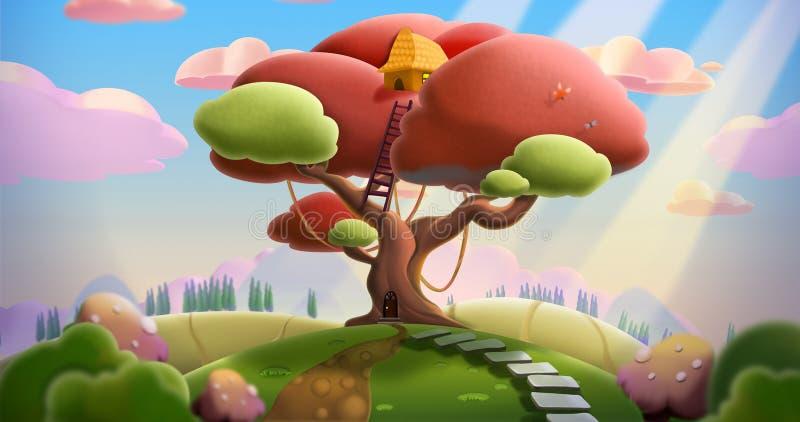Baum-Haus auf dem Hügel lizenzfreie abbildung