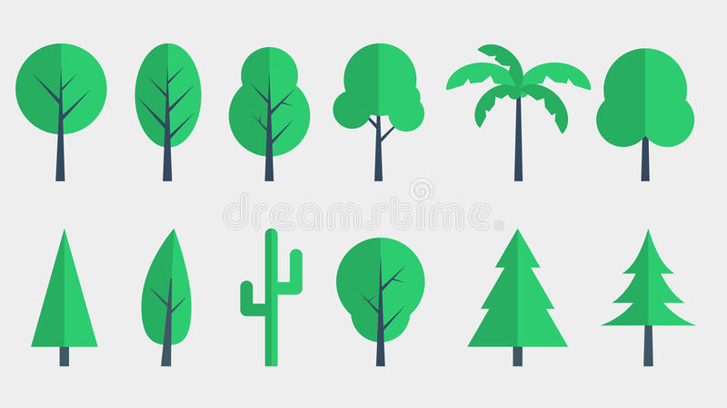 Baum-Ikonen-flaches Design stockbilder
