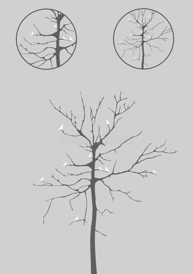 Baum im Winter mit Vogelillustration lizenzfreie abbildung