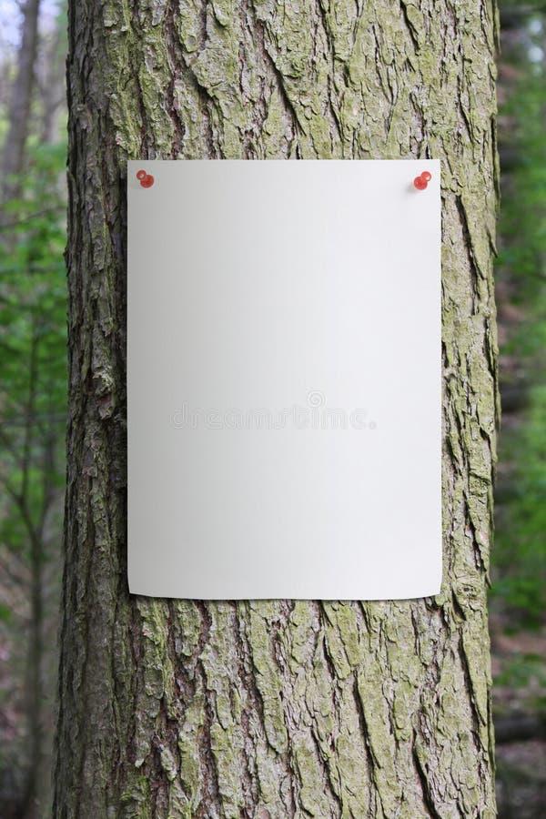 Baum-Kabel mit Papierplakat steckte zu ihm fest lizenzfreie stockbilder