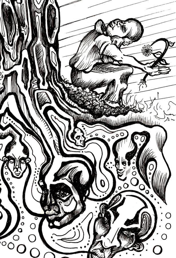 Baum-Kabel-Träumerei stock abbildung