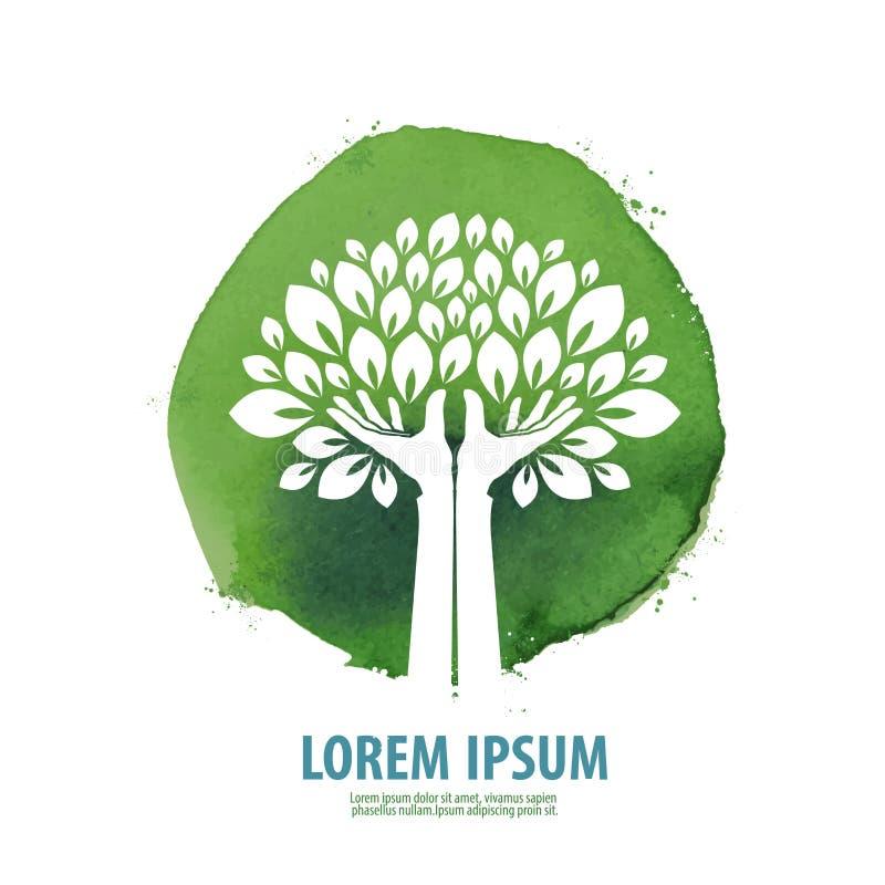 Baum Logo, Ikone, Zeichen, Emblem, Schablone lizenzfreie abbildung