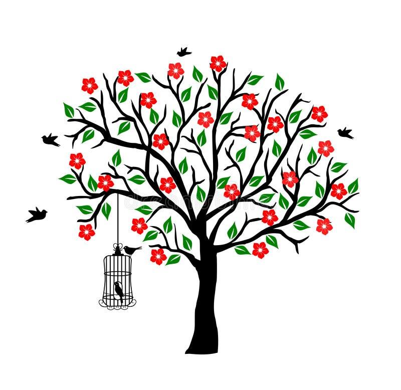 Baum mit Birdcage vektor abbildung