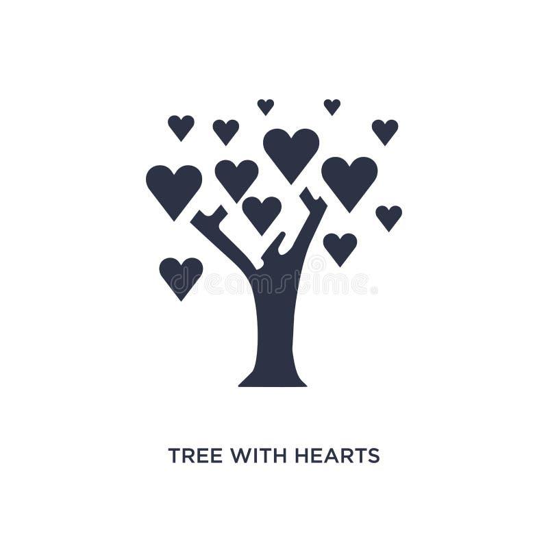 Baum mit Herzikone auf weißem Hintergrund Einfache Elementillustration vom Ökologiekonzept stock abbildung