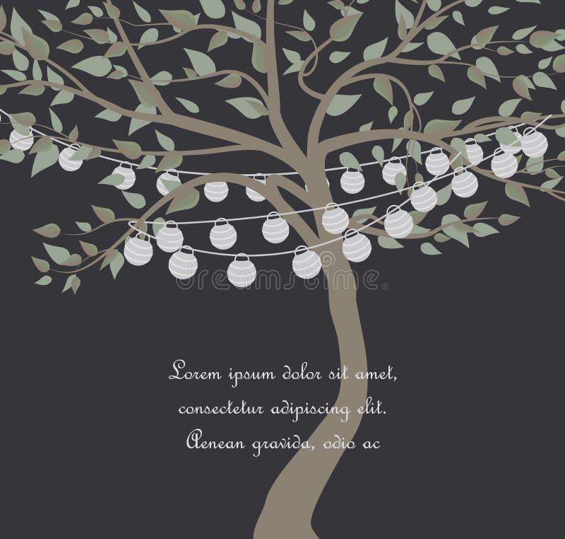 Baum mit Laternen lizenzfreie abbildung