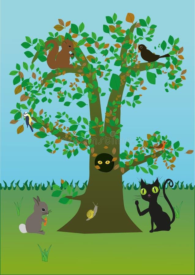 Baum mit Tieren stock abbildung