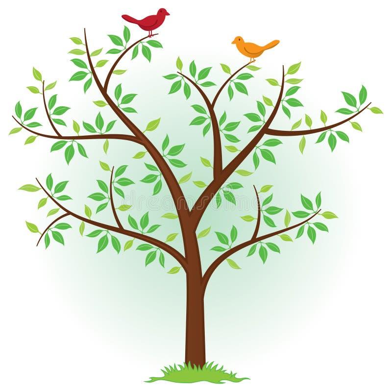 Baum mit Vögeln lizenzfreie abbildung