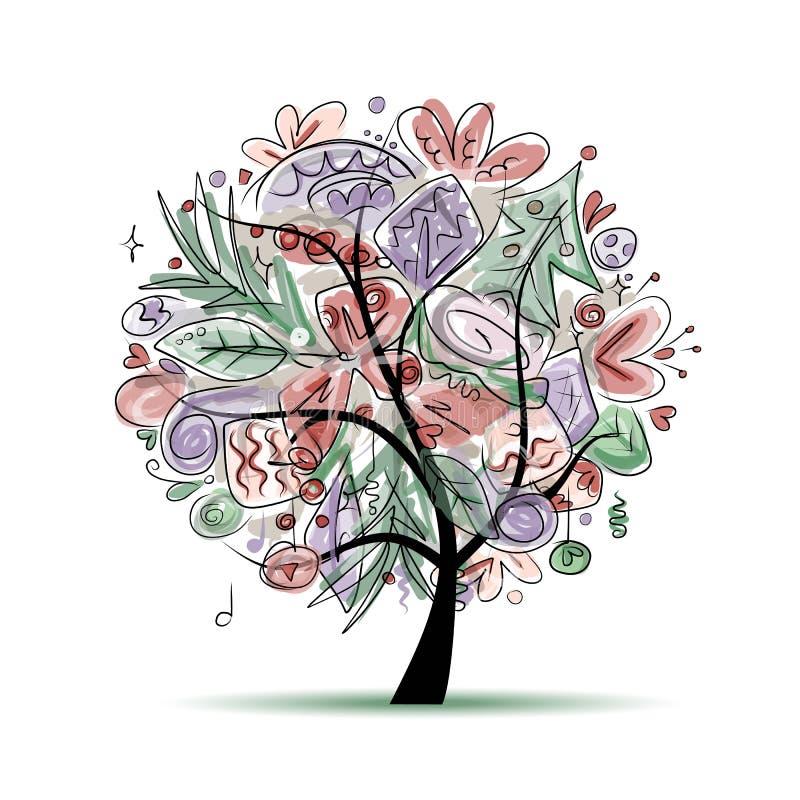 Baum mit Weihnachtsdekorationen, Skizze für Ihr vektor abbildung