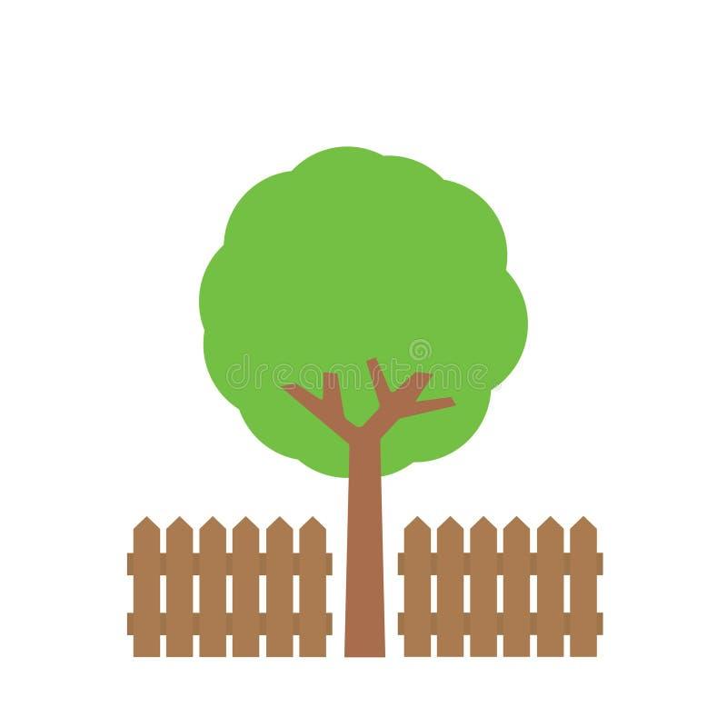 Baum nahe Zaun stock abbildung