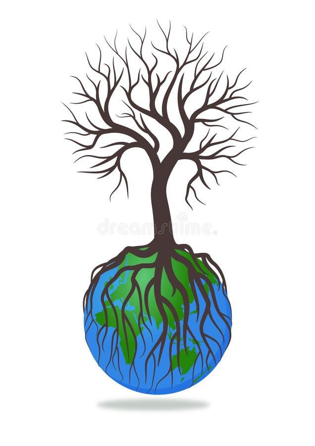 Baum ohne Blätter auf Erdillustrations-Vektor lizenzfreie abbildung