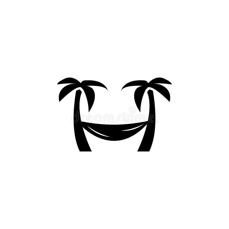Baum Palm Beach mit Hängemattenikone vektor abbildung