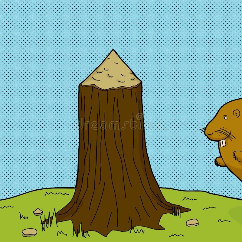 Baum-Stumpf und Biber vektor abbildung