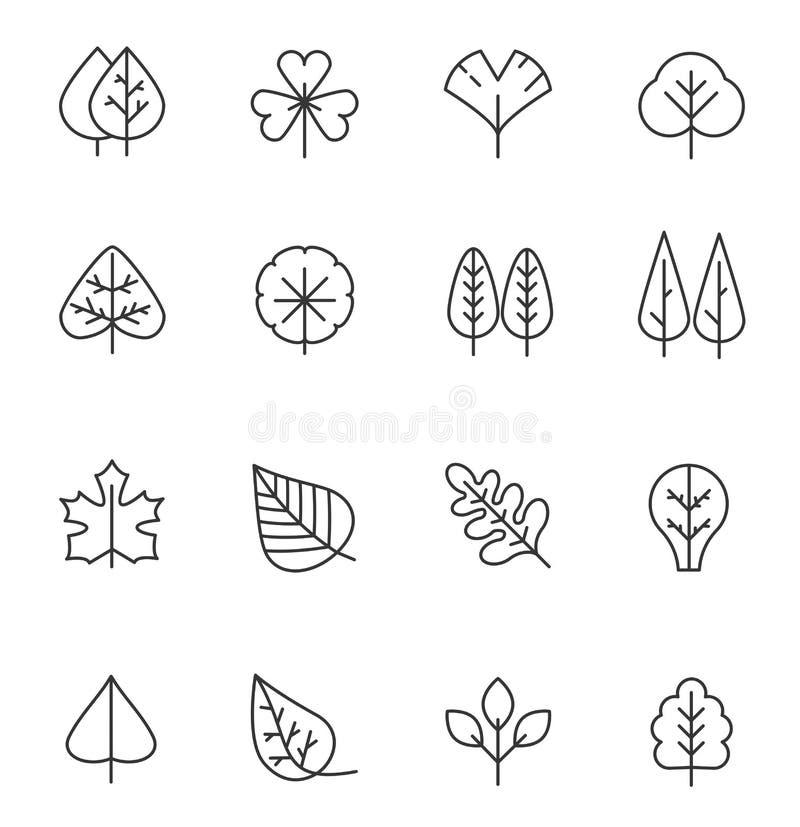 Baum- und Blattlinie Ikonen eingestellt Natürliches Anschlagsymbol, hölzerner Stamm und Entwurfsniederlassungen für Karte lizenzfreie abbildung